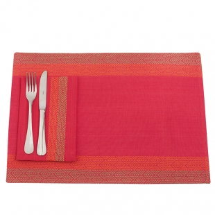 Three Colours Cotton Mats And Napkins Set With Geometric Patterns Lancaster