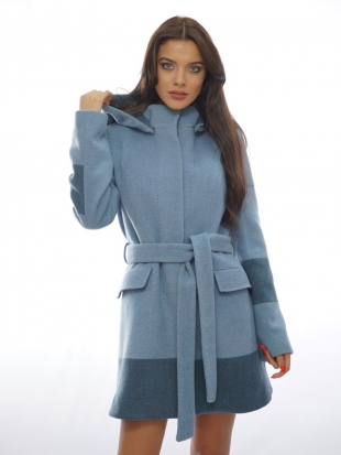 Elegant coat with belt and hood 11905-8-7