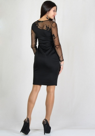 Black evening dress with embroidered lace RUMENA