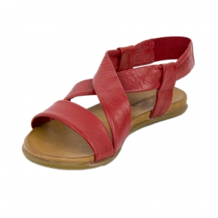 Women's red leather sandals with elastic 19243