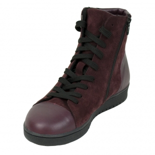 Women's bordeaux leather boots 32440