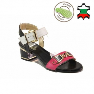 Women's anatomical sandals made of genuine leather in pink, black and white on low heels 21280