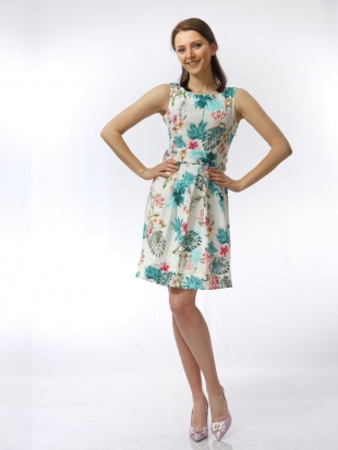 Women's dress with floral print 6192-110