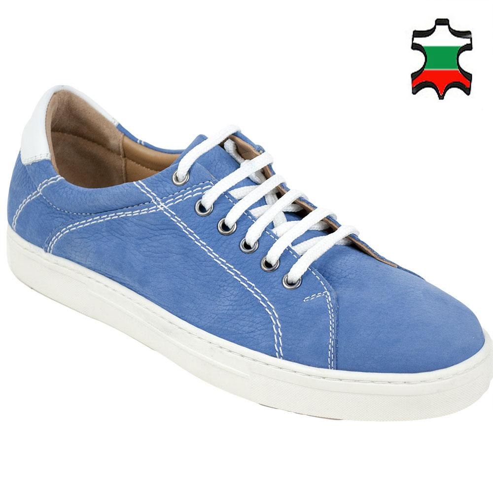 Men's light blue leather shoes with