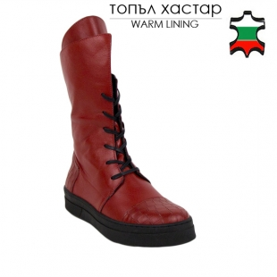 Women's red leather boots 20589