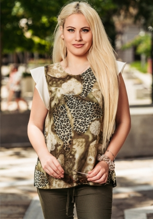 Women's blouse with leopard print and curls on the sleeves Avangard