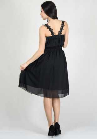 Black chiffon dress with cotton lace RUMENA