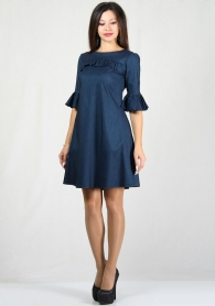 Jeans wide cut dress with frilled sleeves RUMENA