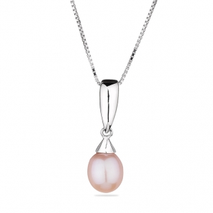 Silver necklace with natural pink pearl CAA041P Swan