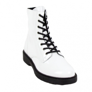 Ladies boots type lace-up white Martin12white from 35 to 41 size