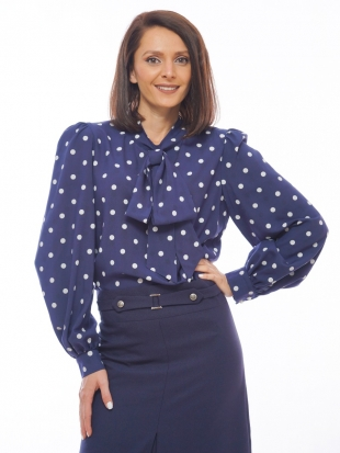 Women's dark blue blouse with white dots 82013-430