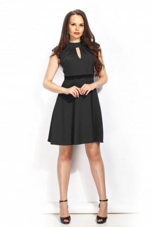 Lady's dress black with open neckline lace