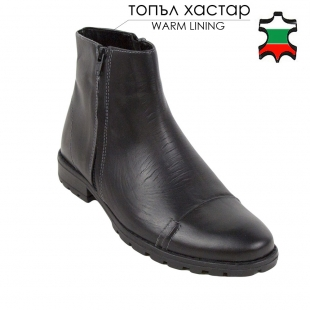 Men's black leather boots with two zippers 32816