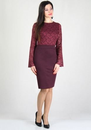 Evening marsala lace top dress with funnel sleeves RUMENA