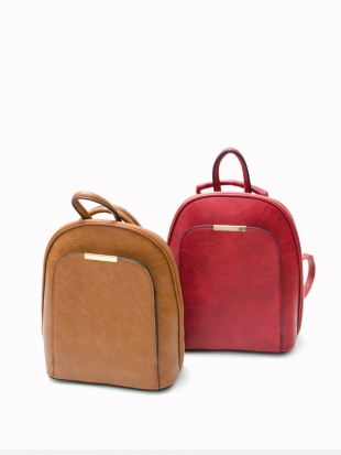 Eco leather backpack in brown and red 525