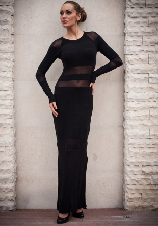 Black long woven dress with two slits Z13