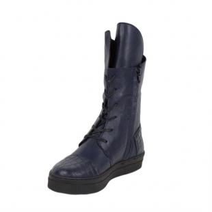 Women's blue leather boots 20590
