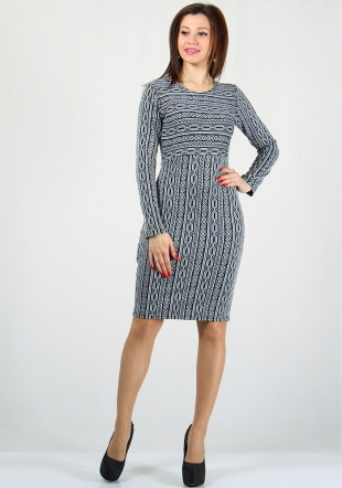 Women's woven like black and white dress RUMENA