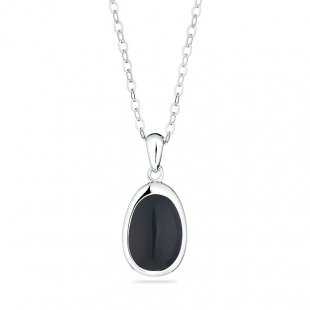 Silver necklace with black onix GL1347N Swan