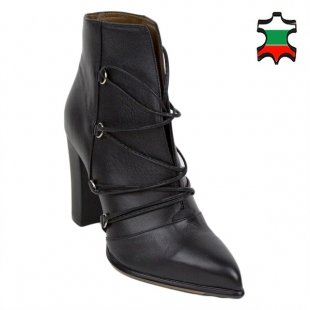 Women's elegant black leather pointed top boots 20453
