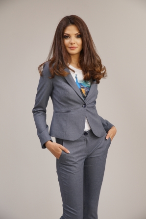 Women's jacket fitted in gray-blue color 23199-942