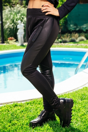 Women's elastic breeches trousers with leather inserts Avangard