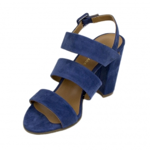 Women's royal blue suede leather sandals 19178