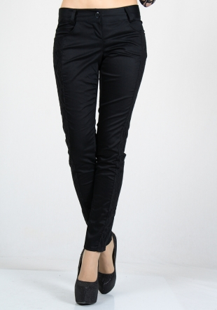 Black trousers with lace side elements RUMENA