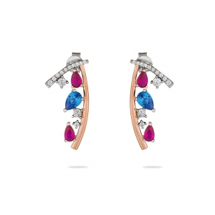 Silver earrings with gold plate and colourful zicons JT277E Swan