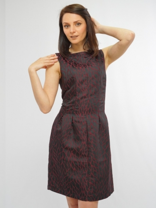 Women's black dress with ornaments in burgundy 90512