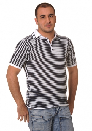 Dark blue striped shortsleeve wooven top Z-10