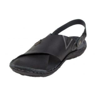 Black leather men's sandals with movable strap 19226
