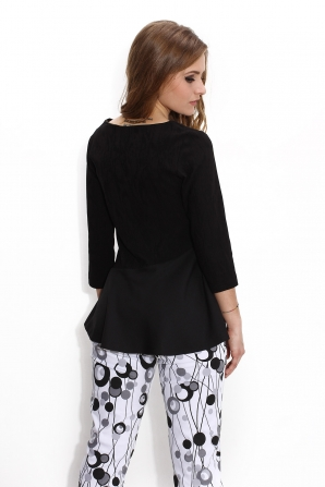 Black women's blouse with peplum Avangard