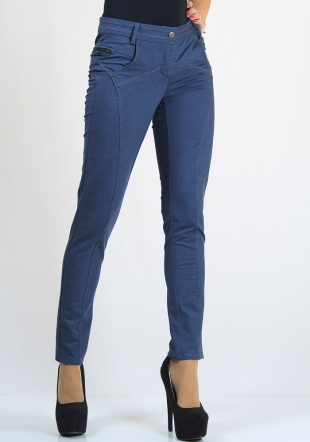 Jeans trousers with zippers and decorative seams Rumena