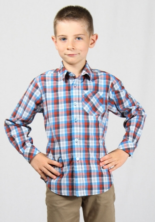 Blue and orange check boys shirt with foldable sleeves RUMENA