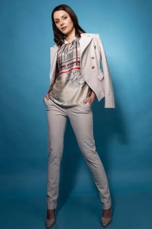 Women's jacket in sugar color with gold buttons 42101-803