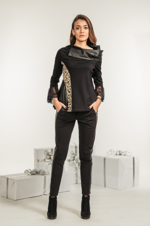 Women set of lace blouse and trousers with leather elements Avangard