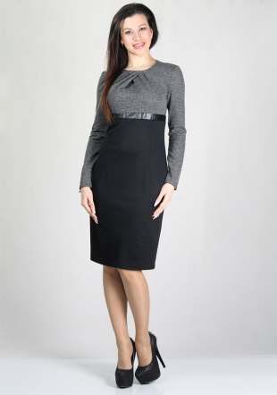 Two tone dress with tucked neck RUMENA