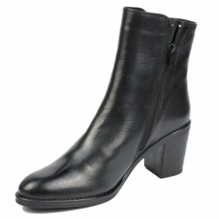 Women's black leather mid heels boots with side buckle 20491