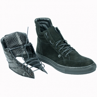 Women's black suede leather boots with removable collar 20596