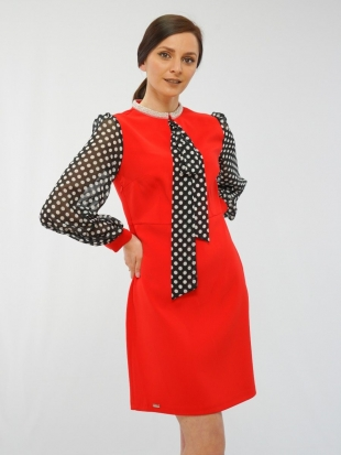 Women's red dress with a spectacular neckline 219-5524