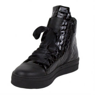 Women's high black patent leather boots 20587