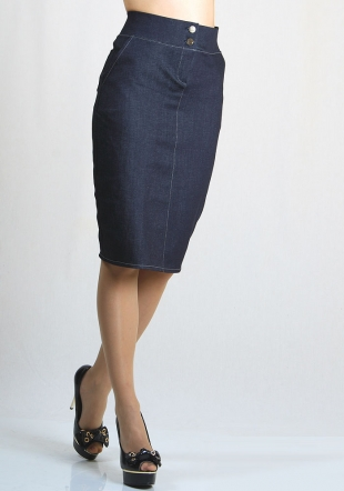 Jeans skirt with embroidered pockets Rumena