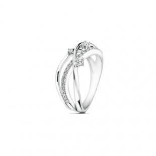 Silver ring with zircons JT7727R Swan