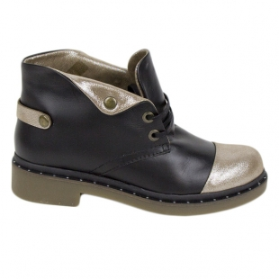 Women's blacka and gold leather boots 20450