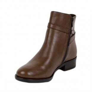 Women's brown leather boots 20415