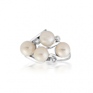 Silver ring with white freshwaters pearls and zircons RT259RW Swan