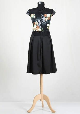 Flower dress with black skirt RUMENA