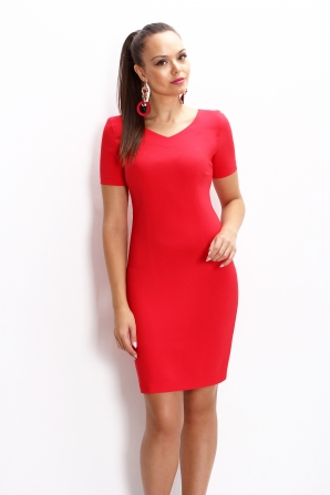 Red short sleeve dress and sharp neckline