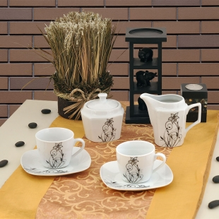 Service from white porcelain for everyday use 15 parts Flower Lancaster everyday collection